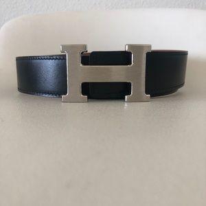 Hermès Silver H Reversible Leather Belt